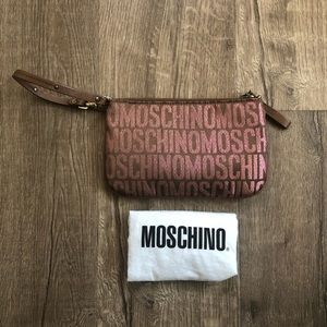 Moschino Brown Rose Gold Canvas Leather Wristlet